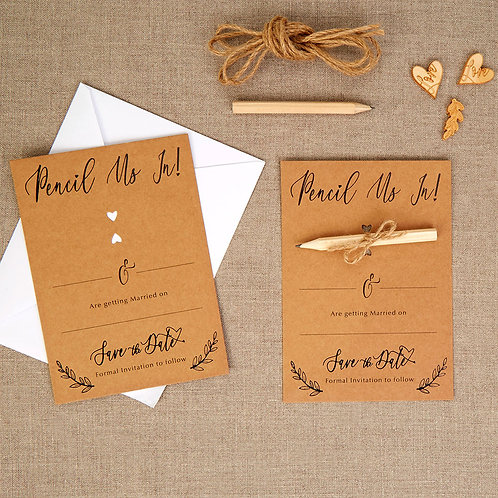 Pack of 10 ¦ Hearts & Krafts Save the Date Card & Envelope
