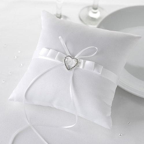 White Satin Cushion & Diamante Heart