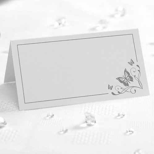 Pack 50 ¦ Butterfly Place Cards ¦ White/Silver