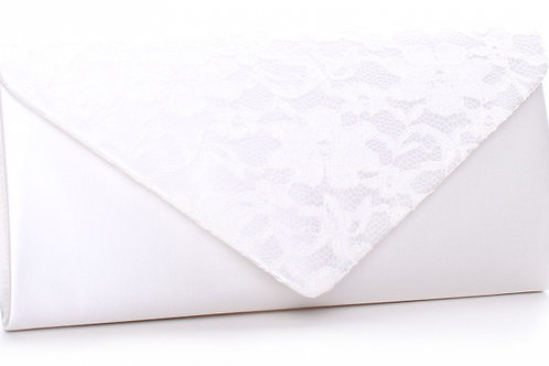 Lure Ivory Satin & Lace Envelope Clutch Bag