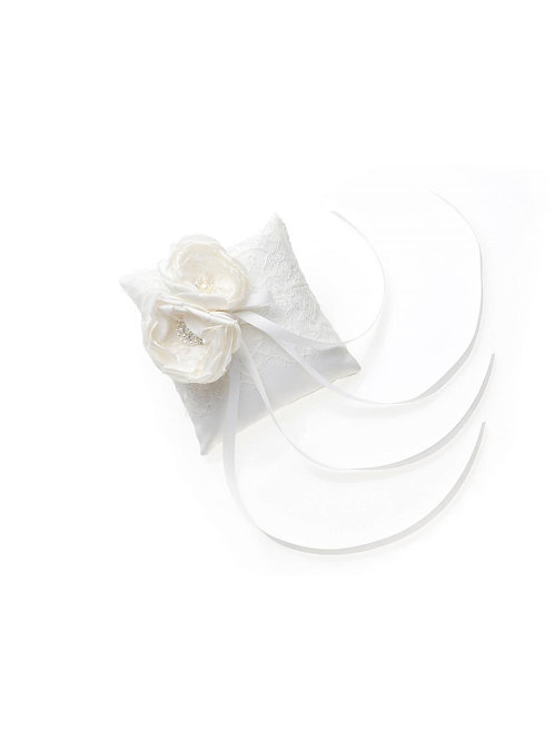Ivory Satin, French Lace, Ring Cushion