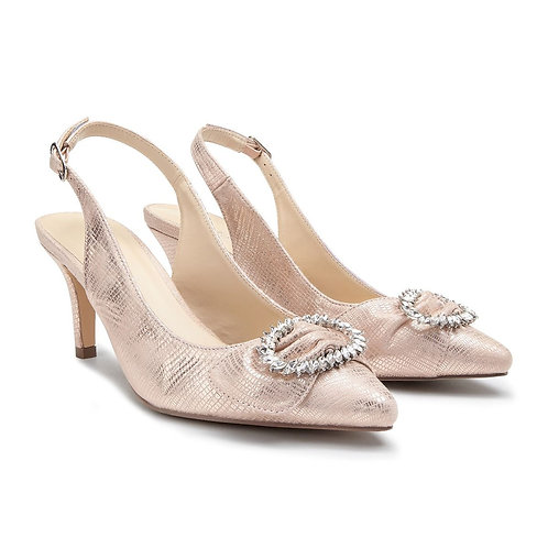 Nude Low Heel Sling Back Court Shoe