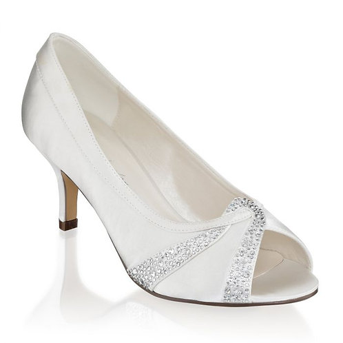 Ivory Extra Wide Fit Mid Heel Peep Toes