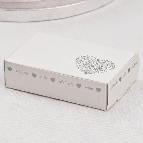 Pack 10 ¦ Vintage Romance Cake Boxes ¦ White/Silver