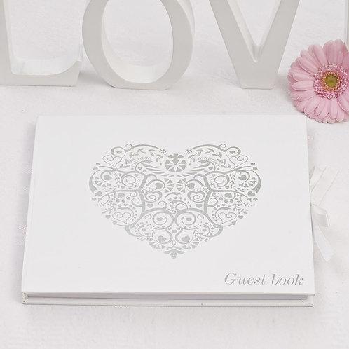 Vintage Romance Guest Book ¦ White/Silver