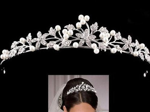 Floral Diamante & Faux Pearl Tiara Style 1600