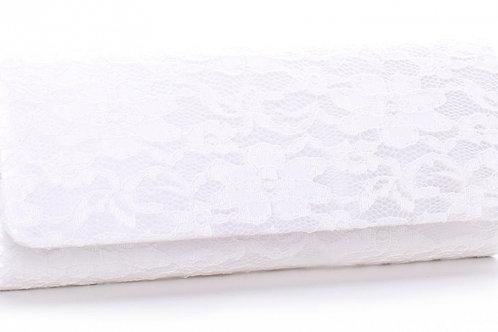 Crimson Ivory Lace Clutch Bag