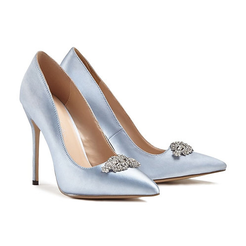 Alandra Jewelled Blue Court Shoe