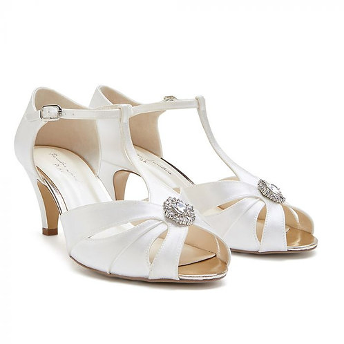Wide Fit Dyeable Low Heel T-Bar Sandal