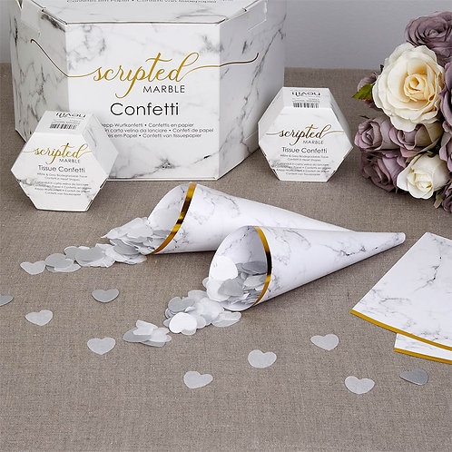 Pack 10 ¦ Scripted Marble Confetti Cones