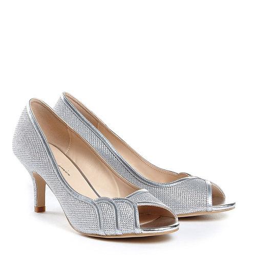 Silver Low Heel Glitter Peep Toe