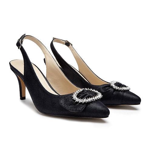 Black Low Heel Sling Back Court Shoe