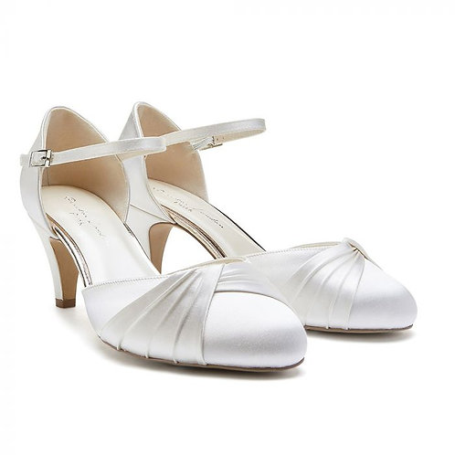 Wide Fit Dyeable Ivory Low Heel Court Shoe