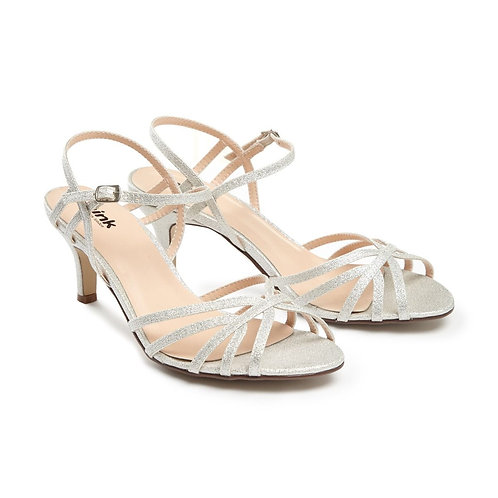 Low Heel Silver Strappy Sandal