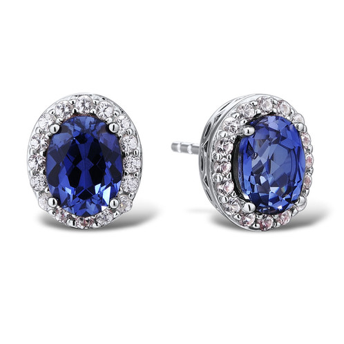 f70e31ada Lab Created Blue and White Sapphire Earrings in Rhodium Plated Sterling  Silver C