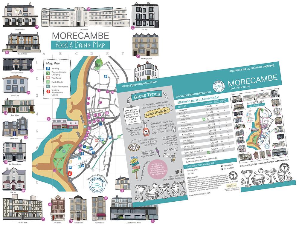 Morecambe Food & Drink Map Illustrated by Felltarn