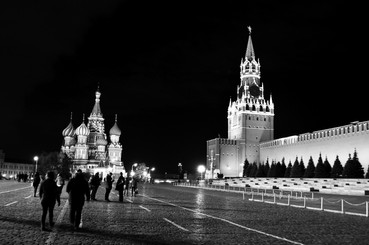 Spasskaya Tower of the Moscow Kremlin and Saint Basil's Cathedral