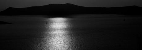 Sunset at Fira and vulcan Nea Kameni