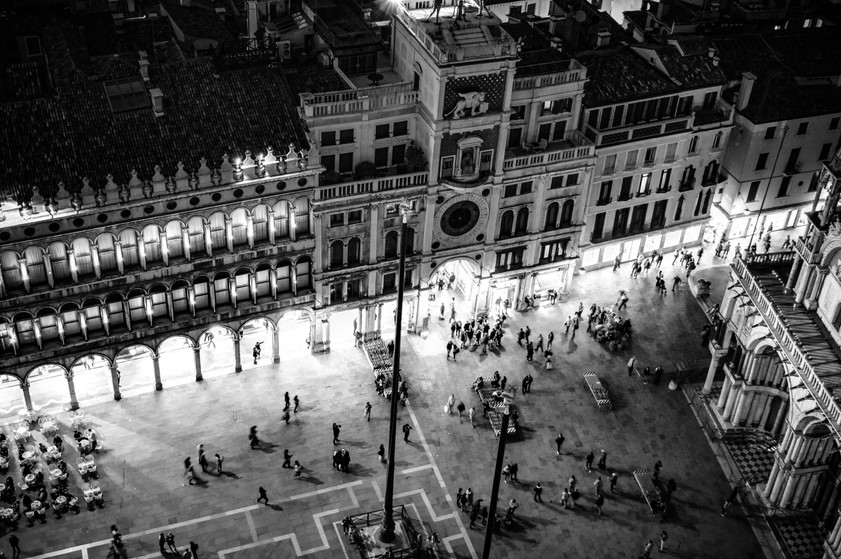 Piazza San Marco seeing from Campanile di San Marco Tower at twilight