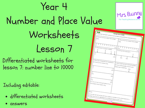 Number line to 10000 worksheets (Year 4 Number and Place Value)