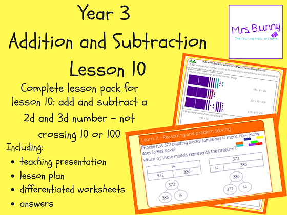 Add and subtract a 2d number and 3d number lesson pack (Year 3 Addition and Subt