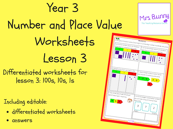 100s, 10s, 1s (1) worksheets (Year 3 Number and Place Value)