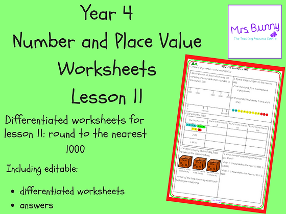 Round to the nearest 1000 worksheets (Year 4 Number and Place Value)