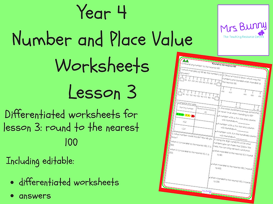 Round to the nearest 100 worksheets (Year 4 Number and Place Value)