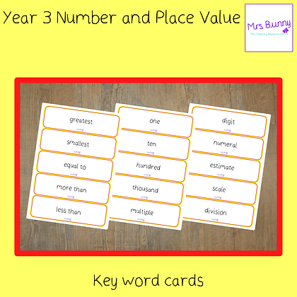Key Word Cards (Year 3 Number and Place Value)