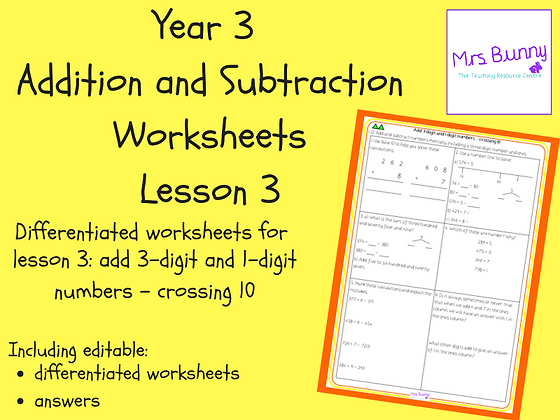 Add 3-digit and 1-digit numbers - crossing 10 worksheets (Year 3 Addition and Su