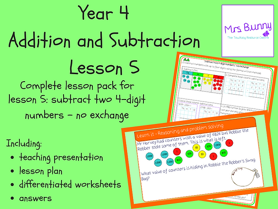 Subtract two 4d numbers-no exchange lesson (Year 4 Addition and Subtraction)