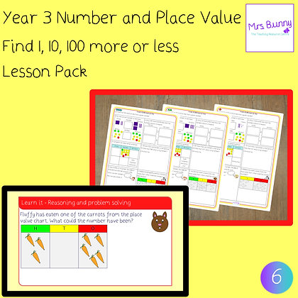 Find 1, 10, 100 more or less lesson pack (Year 3 Number and Place Value)