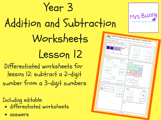 Subtract a 2-digit number from a 3-digit number worksheets (Year 3 Addition and