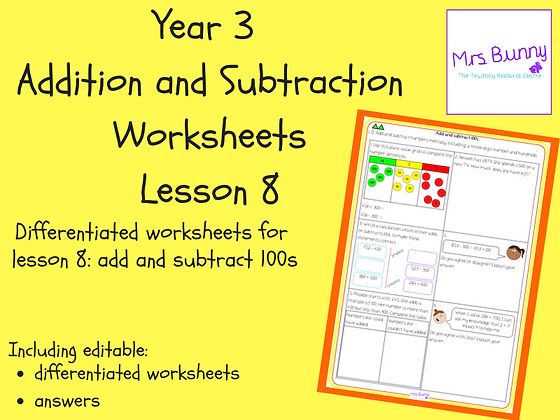 Add and subtract 100s worksheets (Year 3 Addition and Subtraction)