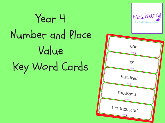 Key Word Cards (Year 4 Number and Place Value)