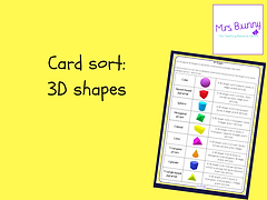 3d shapes card sort
