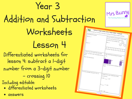 Subtract a 1-digit number from a 3-digit number worksheets (Year 3 Addition and