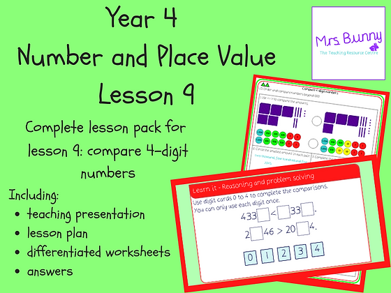 Compare 4-digit numbers lesson pack (Year 4 Number and Place Value)