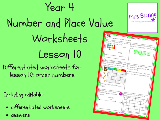 Order numbers worksheets (Year 4 Number and Place Value)