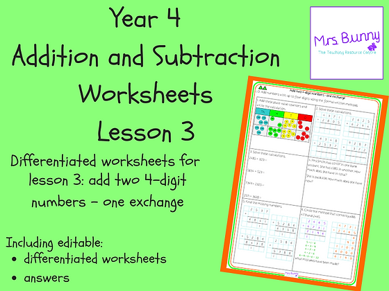 Add two 4-d numbers - one exchange worksheets (Year 4 Addition and Subtraction)
