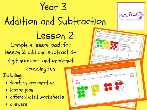 Add and subtract 3-digit numbers and ones lesson pack (Year 3 Addition and Subtr