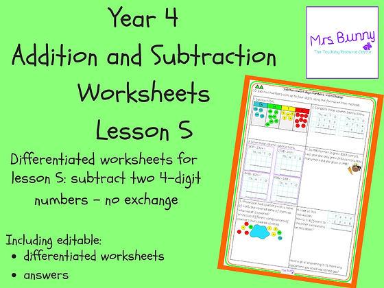 Subtract two 4-d numbers-no exchange worksheets (Year 4 Addition & Subtraction)