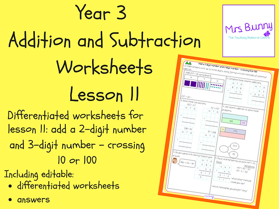 Add a 2-digit number and 3-digit number worksheets (Year 3 Addition and Subtract