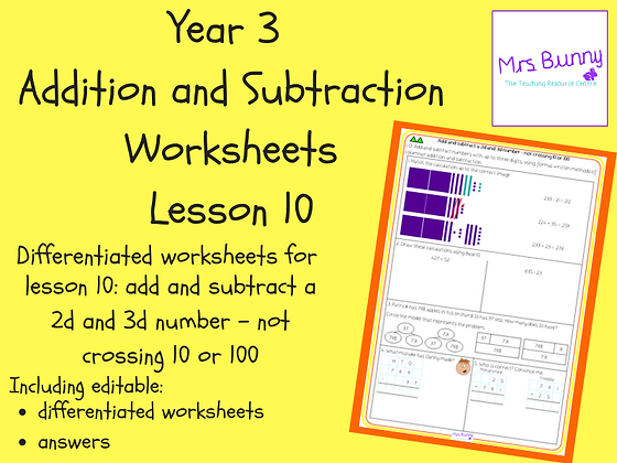 Add and subtract a 2d number and 3d number worksheets (Year 3 Addition and Subtr