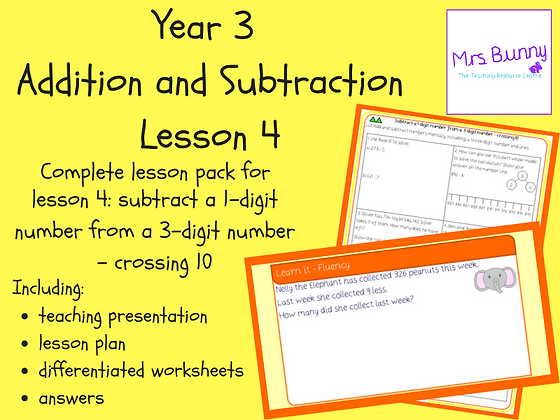 Subtract a 1-digit number from a 3-digit number lesson pack (Year 3 Addition and