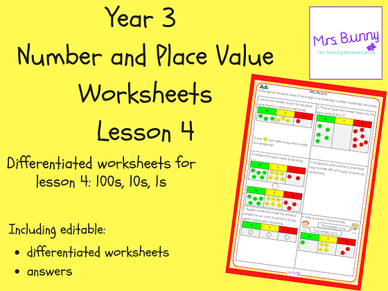 100s, 10s, 1s (2) worksheets (Year 3 Number and Place Value)