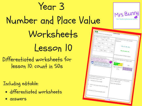 Count in 50s worksheets (Year 3 Number and Place Value)