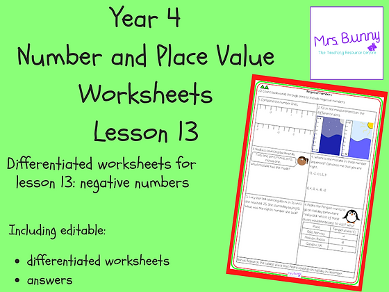 Negative numbers worksheets (Year 4 Number and Place Value)