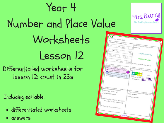 Count in 25s worksheets (Year 4 Number and Place Value)