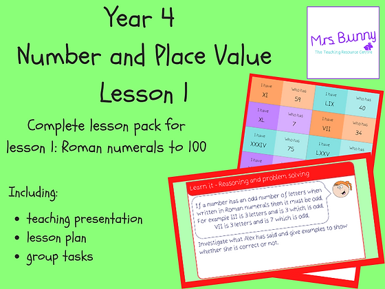 Roman numerals to 100 lesson pack (Year 4 Number and Place Value)